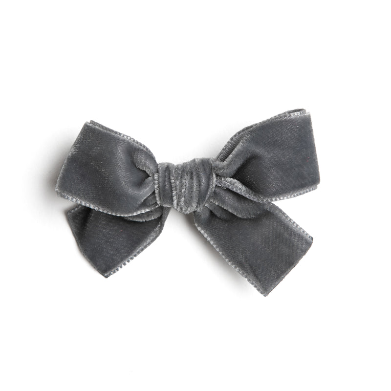 Grey Velvet Small Bow Clip - Hair Accessories - PEPA AND CO