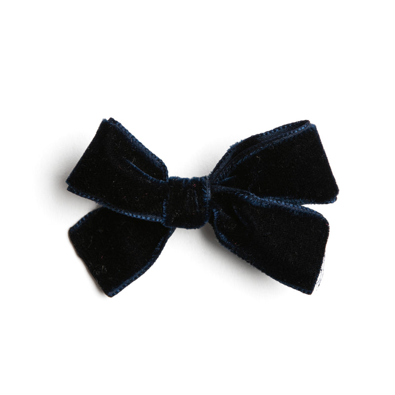 Navy Velvet Small Bow Clip - Hair Accessories - PEPA AND CO