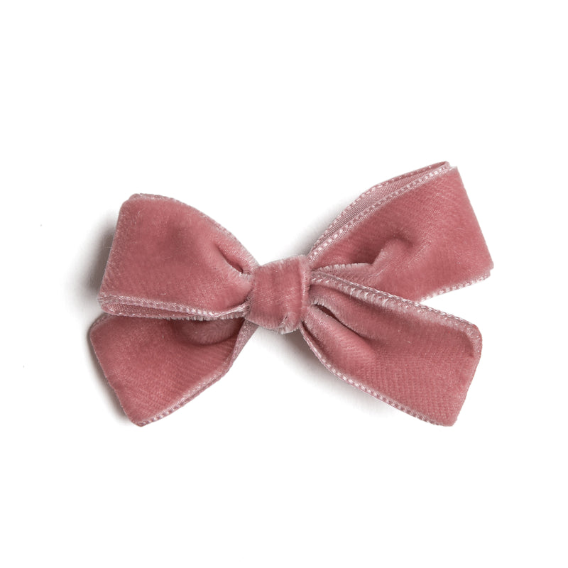 Pink Velvet Small Bow Clip - Hair Accessories - PEPA AND CO