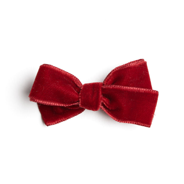 Red Velvet Small Bow Clip - Hair Accessories - PEPA AND CO