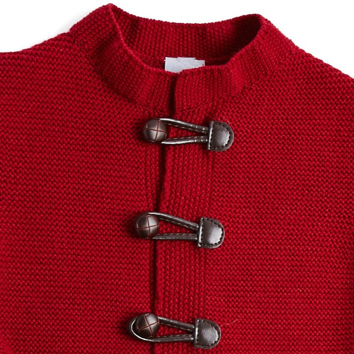 Burgundy Knitted Cardigan with Toggle Fastening - KNITTED - PEPA AND CO