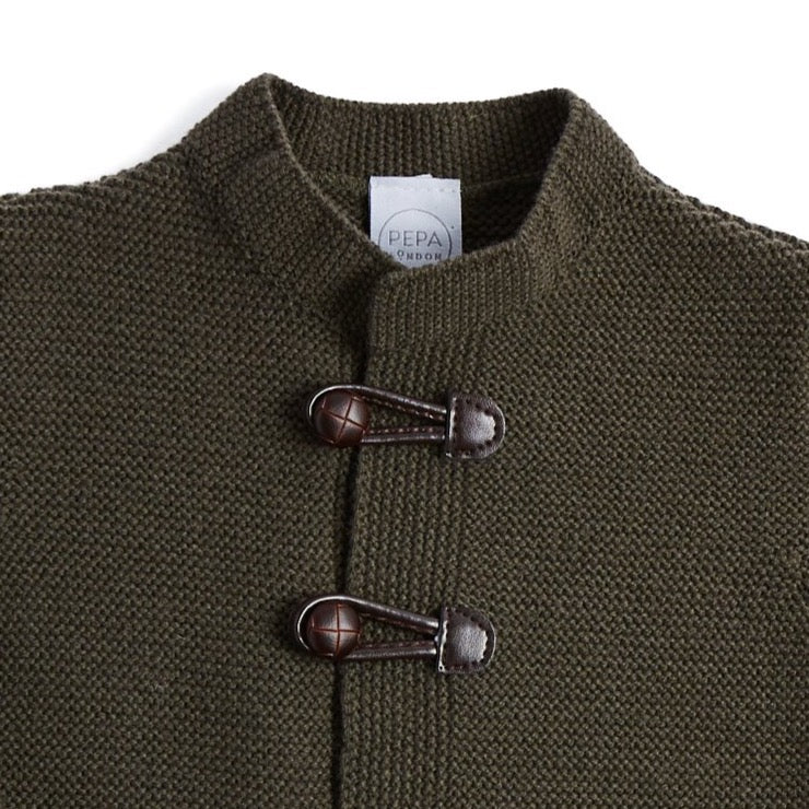 Green Knitted Cardigan with Toggle Fastening - KNITTED - PEPA AND CO