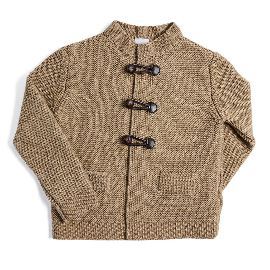 Oatmeal Knitted Cardigan with Toggle Fastening - KNITTED - PEPA AND CO