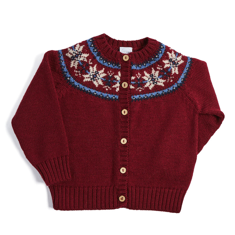 Burgundy Knitted Cardigan with Fairisle Design - KNITTED - PEPA AND CO