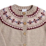 Oatmeal Knitted Cardigan with Fairisle Design - KNITTED - PEPA AND CO