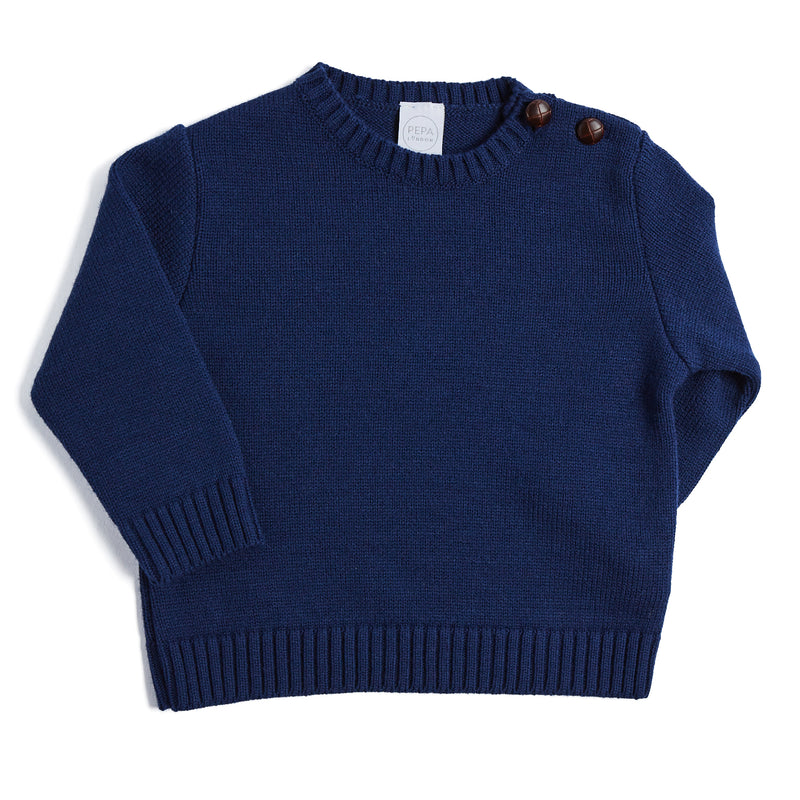 Classic Navy Knitted Jumper - KNITTED - PEPA AND CO