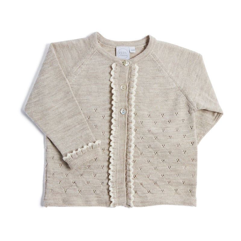 Traditional Cream Knitted Cardigan - KNITTED - PEPA AND CO