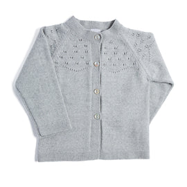 Grey Openwork Wool Blend Cardigan - KNITTED - PEPA AND CO