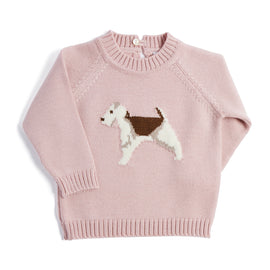 Pink Knitted Jumper with Dog Motif - KNITTED - PEPA AND CO