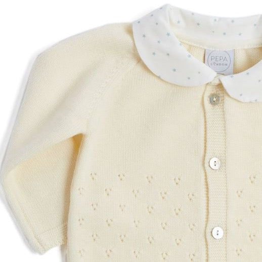 Cream Knitted All-in-One with Peter Pan Collar - KNITTED - PEPA AND CO
