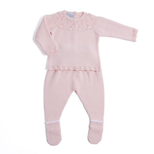 Pink Openwork Knitted Set - KNITTED - PEPA AND CO