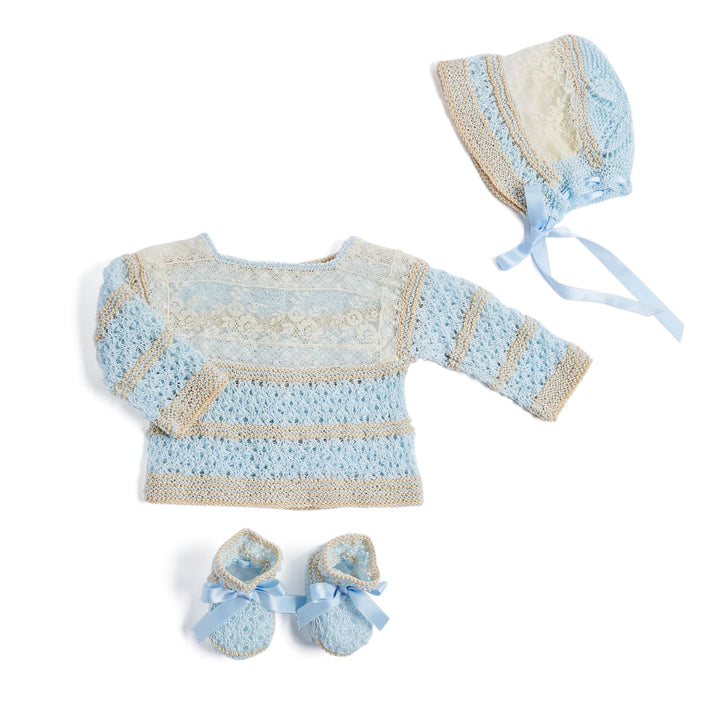 Blue Knitted Special Occasion Set with Lace - KNITTED - PEPA AND CO