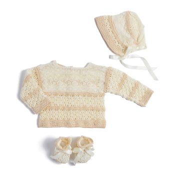 Ivory Knitted Special Occasion Set with Lace - Knitwear - PEPA AND CO