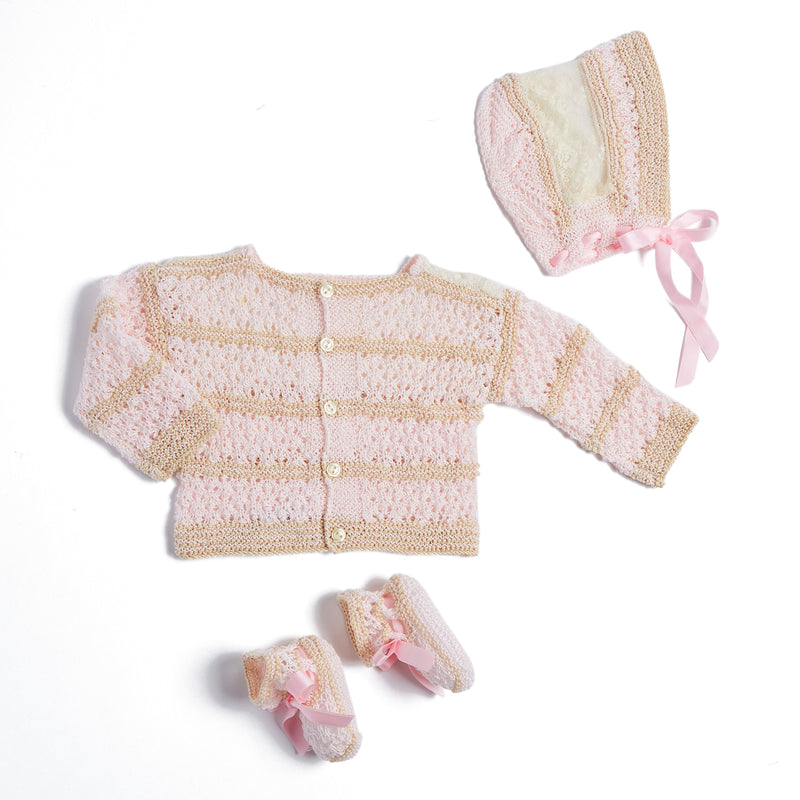 Pink Knitted Special Occasion Set with Lace - KNITTED - PEPA AND CO