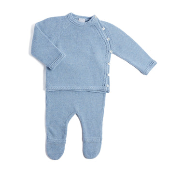 Blue Cashmere Set with Jumper and Trousers - Set - PEPA AND CO