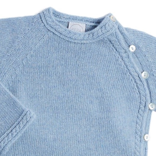 Blue Cashmere Set with Jumper and Trousers - KNITTED - PEPA AND CO