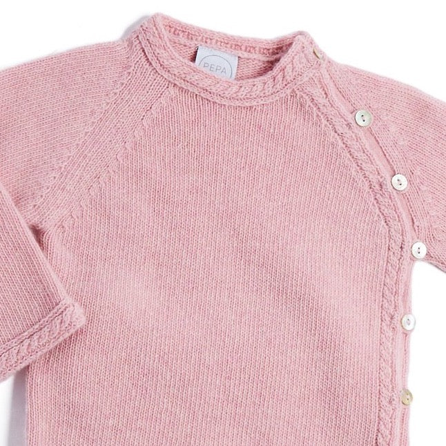 Pink Cashmere Set with Jumper and Trousers - KNITTED - PEPA AND CO