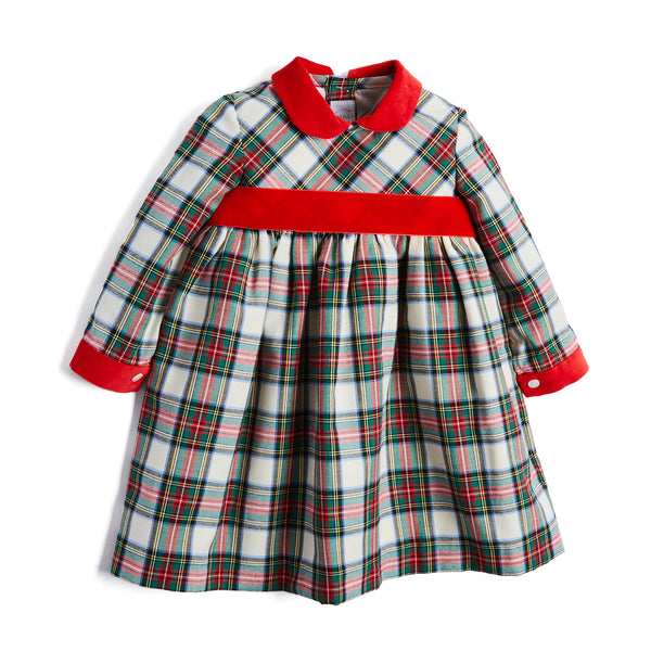 Classic Red Tartan Dress with Velvet Sash - DRESS - PEPA AND CO