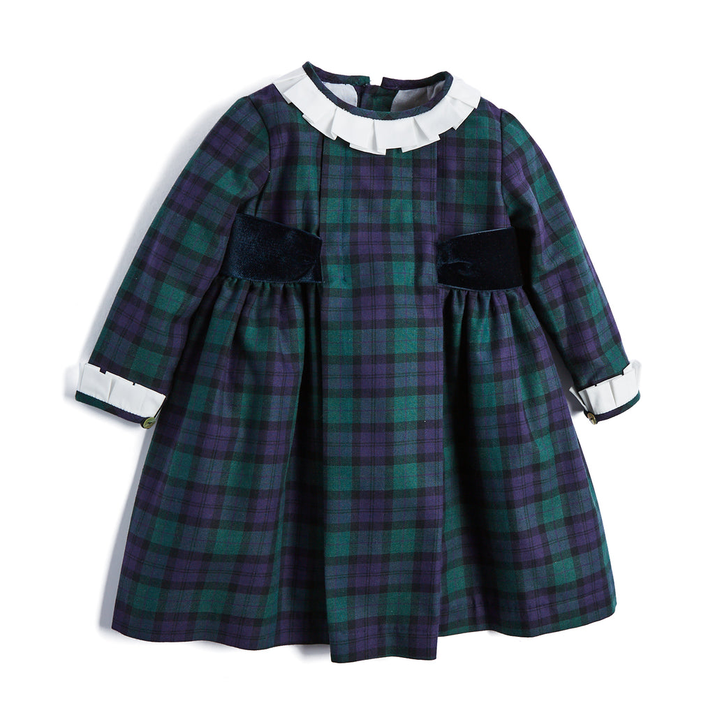 Traditional Green Checked Dress with White Frill Collar - DRESS - PEPA AND CO