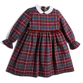 Traditional Burgundy Tartan Dress - DRESS - PEPA AND CO