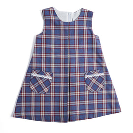 Blue Checked Pinafore Dress - DRESS - PEPA AND CO