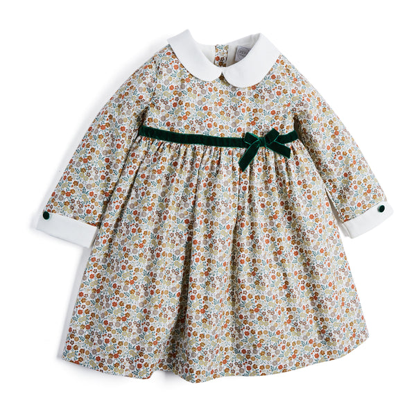 Floral Dress with Green Velvet Bow - DRESS - PEPA AND CO