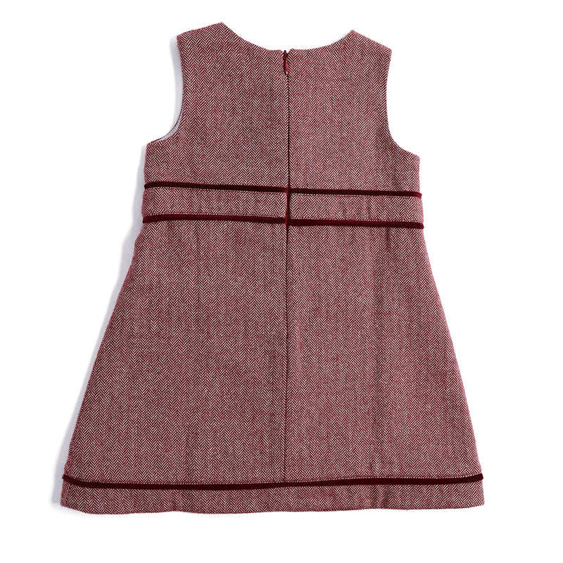 Burgundy Pinafore Dress - DRESS - PEPA AND CO