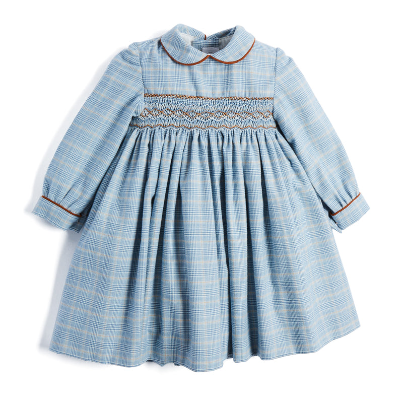 Classic Blue Checked Handsmocked Cotton Dress - DRESS - PEPA AND CO