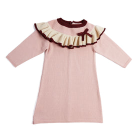 Pink Knitted Ruffle Dress - DRESS - PEPA AND CO
