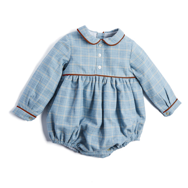Blue Checked Cotton Romper - ROMPER - PEPA AND CO