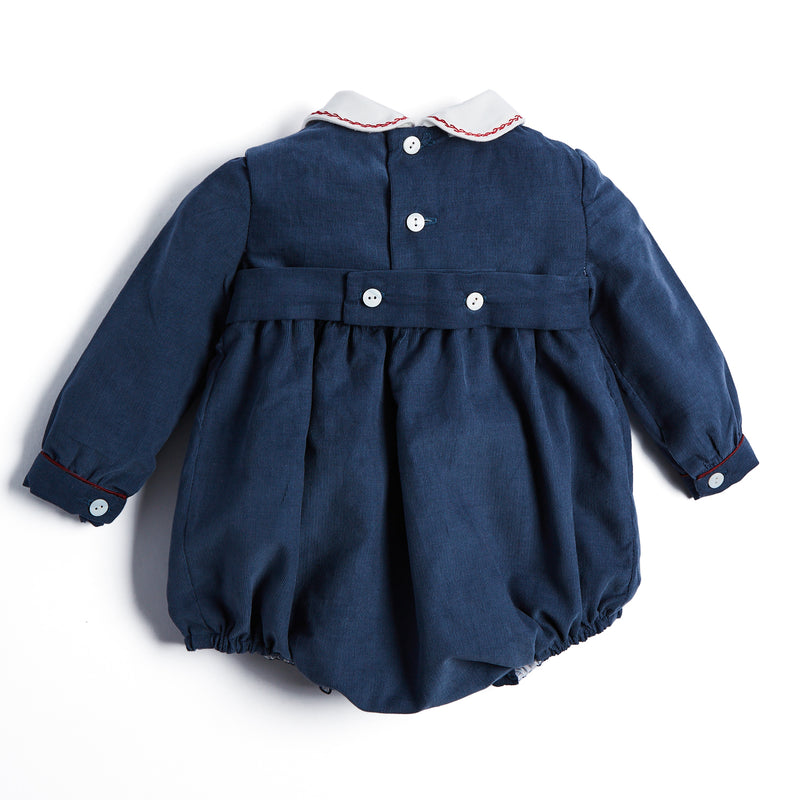 Blue Handsmocked Corduroy Romper - ROMPER - PEPA AND CO