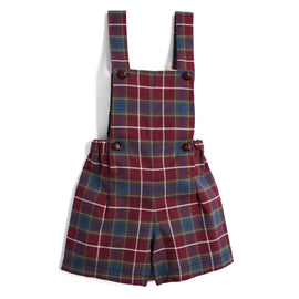 Classic Burgundy Tartan Dungarees - DUNGAREE - PEPA AND CO