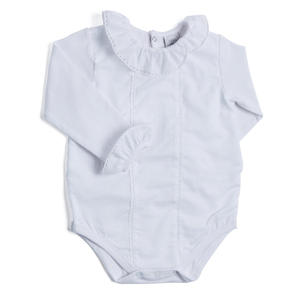 White Cotton Bodysuit with Frill Collar - BODYSUIT - PEPA AND CO