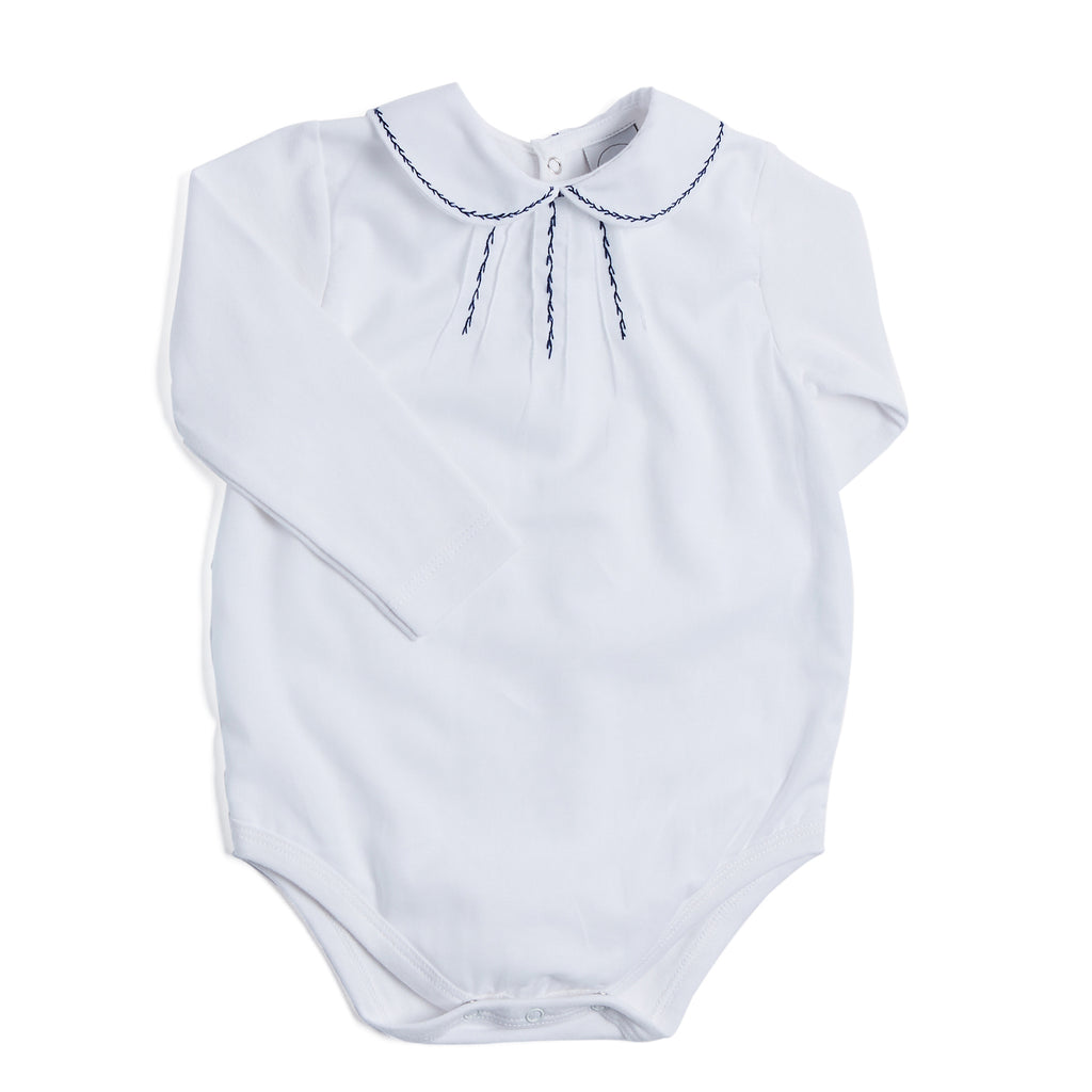 White Cotton Bodysuit with Navy Embroidery - BODYSUIT - PEPA AND CO