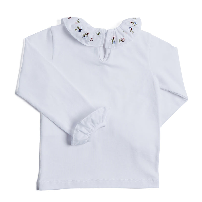 White Long-Sleeved Top with Embroidered Frill Collar - TOP - PEPA AND CO