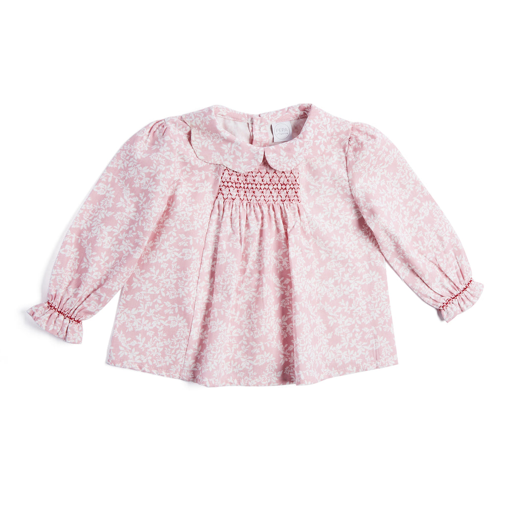 Pink Cotton Floral Blouse with Handsmocked Detailing - BLOUSE - PEPA AND CO