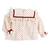 Burgundy Patterned Layered Ruffle Blouse - BLOUSE - PEPA AND CO