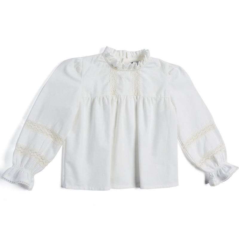 Classic White Layered Blouse with Ruffle Collar - BLOUSE - PEPA AND CO