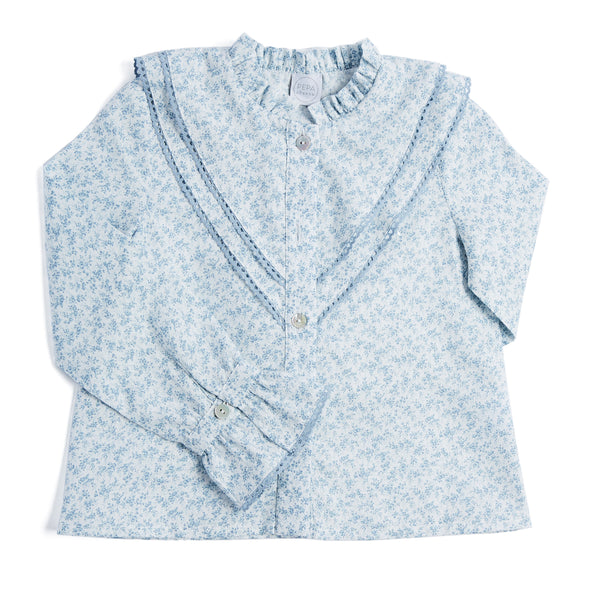Blue Floral Blouse with Ruffle Detailing - BLOUSE - PEPA AND CO