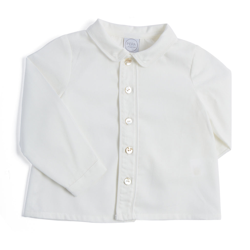 White Long-Sleeved Oxford Shirt - SHIRT - PEPA AND CO