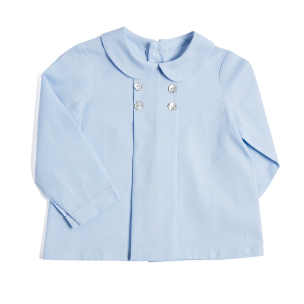 Blue Cotton Double-Breasted Shirt - SHIRT - PEPA AND CO
