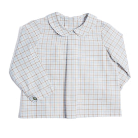 Brown Checked Cotton Long-Sleeved Shirt - SHIRT - PEPA AND CO