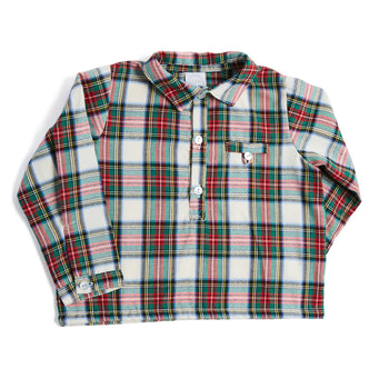 Red & Green Checked Long-Sleeved Shirt - SHIRT - PEPA AND CO