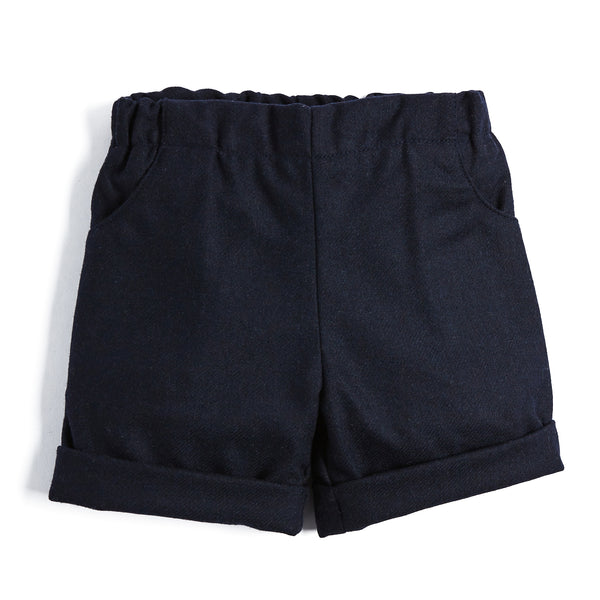 Baby Boys Classic Navy Wool Shorts - SHORT - PEPA AND CO