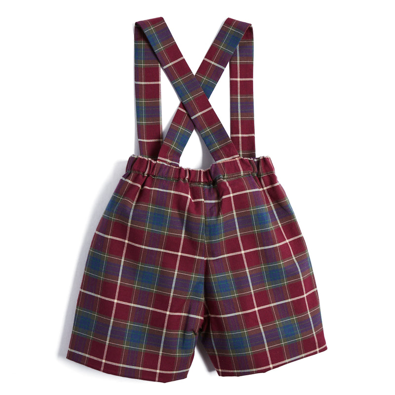 Baby Boys Burgundy Tartan Shorts with Braces - SHORT - PEPA AND CO