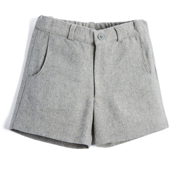 Boys Classic Grey Wool Shorts - SHORT - PEPA AND CO