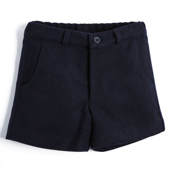 Boys Classic Navy Wool Shorts - SHORT - PEPA AND CO