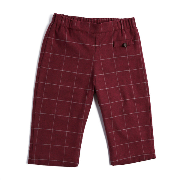 Classic Burgundy Check Trousers - TROUSER - PEPA AND CO