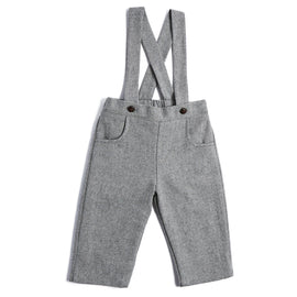 Grey Herringbone Trousers with Braces - TROUSER - PEPA AND CO