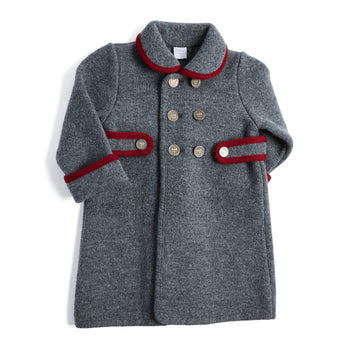 Grey Austrian Wool Coat with Red Trim - Coat - PEPA AND CO